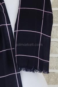 KARE DESENLİ ŞAL - LACİVERT