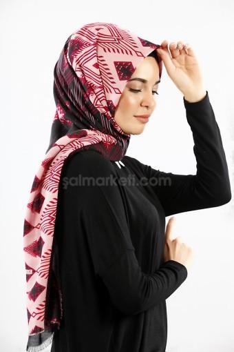 ETNİK DESENLİ ŞAL SİYAH-BORDO 38863